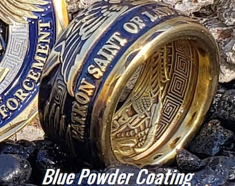 St. Michael Patron Saint of Law Enforcement Challenge Coin Ring!  Powder Coated Police Officer Blue over Brass (other finishes available)