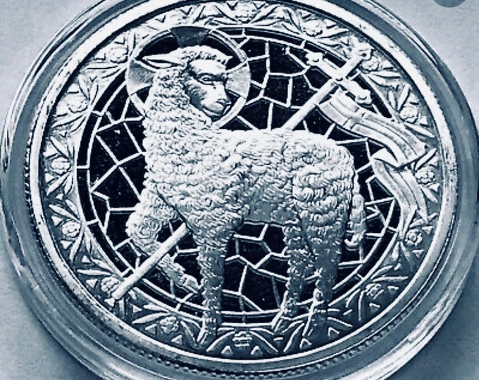 Lamb of God, Christian Coin, .999 Pure Silver Coin, 1 Troy Ounce, John 1:29-Behold the Lamb of God, Bible Verse.