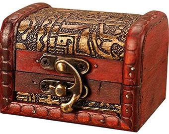 Small Wooden Treasure Chest w/ Ornate and Antique Style Finish for Jewelry, Watches, Rings, Necklaces, Collectables Single Size:  8X6X6.5 cm