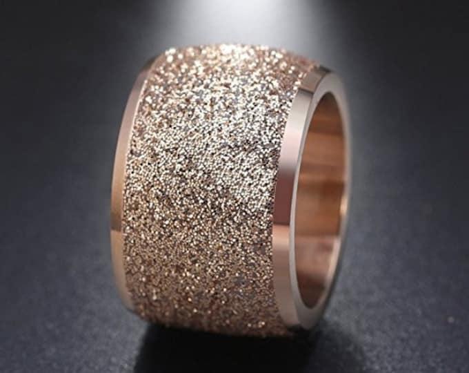 Reg. 159.95  16mm Womens Sandblasted Rose Gold Finish Wedding Band Engagement Domed Ring (anniversary, promise ring, rose gold wedding ring