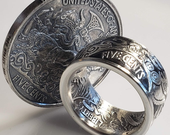 """BERSERKER VIKING hand forged """"1oz Solid 9999 Silver Coin Ring* Norseman, Norwegian, Danish, Iceland (US Ring Sizes 4-25)"""
