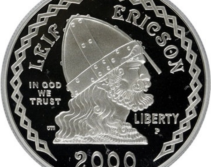 2000 Leif Ericson, Iceland Coin (1 Troy Ounce, .999 Pure Silver, Norwegian, Greenland, Norway), Precious Metal Plating Options Available.