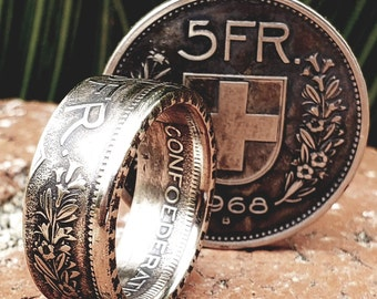 1931-1969 (.835 SILVER) Switzerland 5 Francs / Franken / Franchi (5 CHF) (Swiss Confederation) Coin Rings, Anniversary, Heritage, Vintage