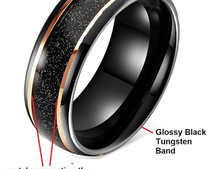 8mm Black Tungsten Carbide Band (Custom Gloss Black inside, Matt Black Outside) w Rose Gold Dividing Walls & Shimmering Black Hawaiian Sand