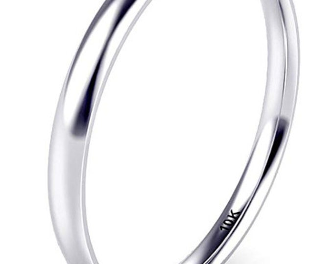 2mm, 10K Solid White Gold, Women, Girls Plain Band, Comfort Fit, Domed (Wedding Band, Engagement Ring, Promise, Stackable Rings, Toe).
