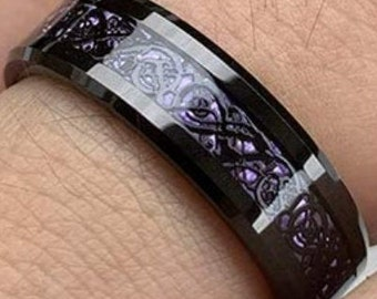 Reg. 299.95 6mm Black Tungsten Carbide Wedding Band Ring with Purple Carbon Fiber & Black Celtic Dragon inlay US Size 5 to 12