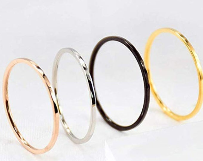 ALL FOUR (4) Stackable 1mm Stackable Rings for Women (Knuckle, Finger or Toe Rings in Rose Gold, Yellow Gold, Silver & Black) (Sizes 2-14)