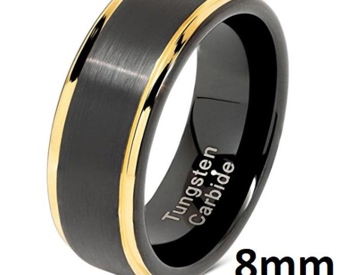 REG 299.99 - 8mm Mens Black Tungsten Wedding Band w/ Brushed Finish Step Side 18k Gold Edges Wedding Ring, Engagement Band, Anniversary #111