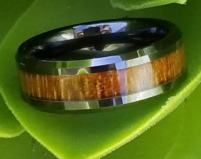 Reg 299.95 | 8mm Real Hawaiian KOA Wood Inlay over Black Titanium with Comfort Fit Band, Vintage Wedding Engagement Promise Band