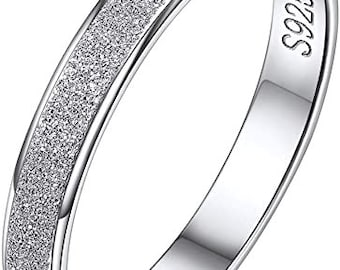 3mm 925 Solid Sterling Silver Eternity Ring, Sandblast Finished, Comfort Fit, Wedding, Engagement Band, Mens, Womens, Ring Sizes 4-12.