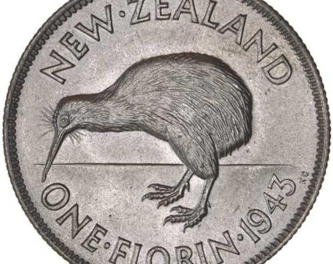 1933-36 New Zealand 1 Florin Coin (Kiwi Bird, King George V) .500 Silver (Random Year)