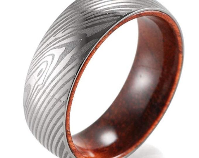 REG 386.95 - Damascus Style Etched Titanium & Rosewood Bold Wedding Band   Promise   Engagement   Anniversary   Fathers Day   US Sizes 8-13