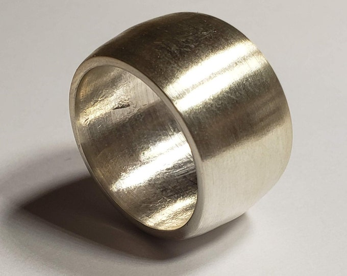 10mm-15mm Wide Silver Dome Brushed Ring Handmade from a .9999 PURE 1oz Fine Silver Coin (wedding band, engagement ring, unique fashion ring)