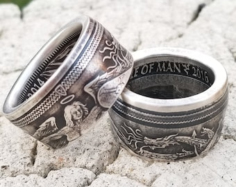 2016 Archangel Michael slaying the Beast!  (coin from Isle of Man) 1 Troy Ounce .999 Pure Fine Silver - Wedding Band US Ring Size 3-18