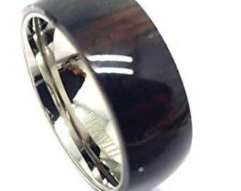 6MM Titanium With Pure Hawaiian Dark Koa Wood Domed Top Wedding Band Ring Set | wedding rings, engagement ring, anniversary band, wood inlay