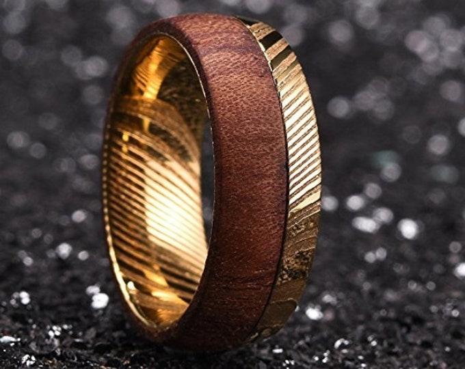 REG 649.95 - 8mm Gold Warrior Damascus Steel & Rose Wood Mens Wedding Ring Dome Bold Wedding Band   Engagement   Anniversary   US Sizes 6-16