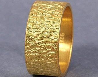 9mm Tree Bark Textured Rustic Wedding Band, Wood Bark Sterling Silver Ring, 24K Yellow Gold Vermeil, Comfort Fit, Unisex Ring, US Size 6.