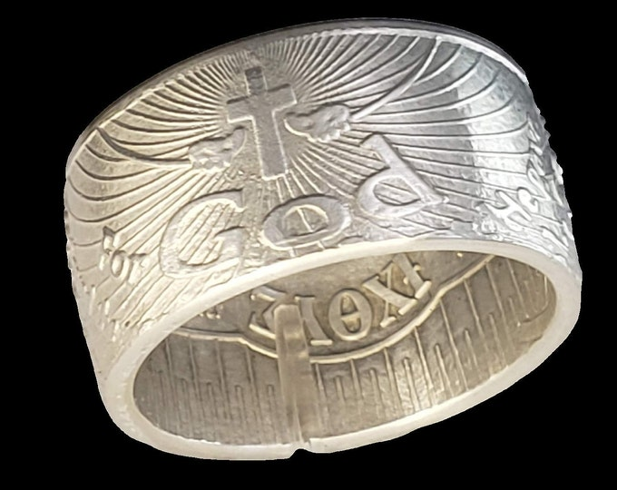 """John 3:16  IXOYE Christian fish """"Coin Ring"""" (Double Sided) Hand-Made from Rare 1 Troy Ounce Pure Silver coin! (Jesus - God - Lord - Church)"""