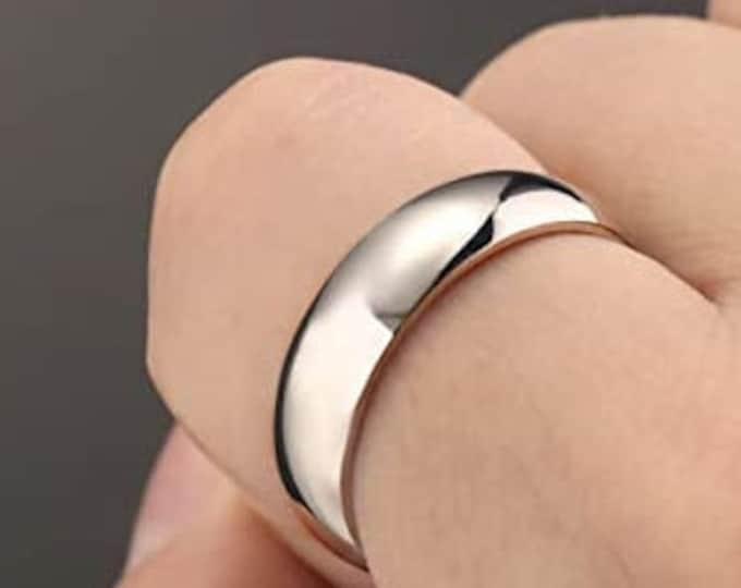 6mm Titanium Band,Silver Finish,Wedding,Engagement,Dome Ring,High Polished,Comfort Fit,Unisex Ring,Men's Ring,Ladies/Women/Girls' Ring.