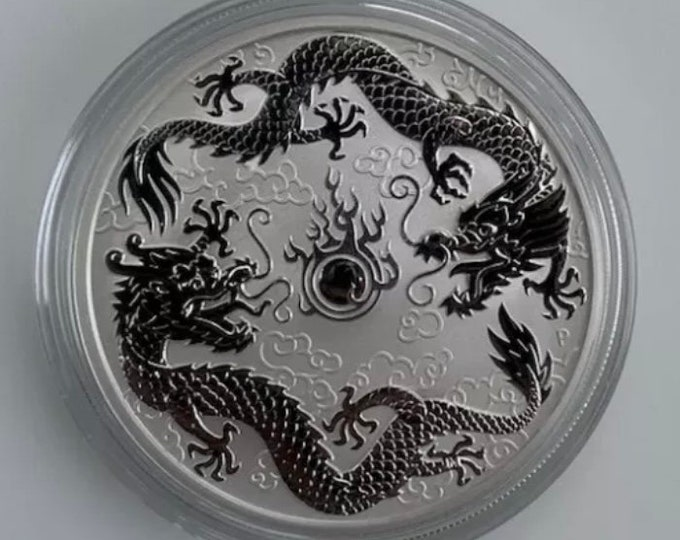 VERY RARE 2019 .9999 Pure silver 1oz Dragon & Phoenix Coin (gold, rhodium, silver, platinum, palladium, and other plating options available)
