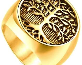 Mens Vintage Stainless Steel Tree of Life Signet Ring,Classic Gothic Family Tree Wedding Band,22mm Gold & Black Finished Band (US Size 7-16)