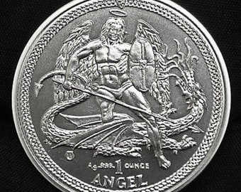 2014 Archangel Michael slaying the Dragon, Coin from Isle of Man, 1 Troy Ounce .999 Pure Fine Silver, Metal Plating Options Available.