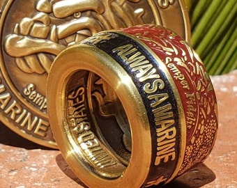 """USMC """"Once a Marine, Always a Marine"""" Marine Corps Master Semper Fi Challenge Coin Ring (custom finish of your choice; any size)"""