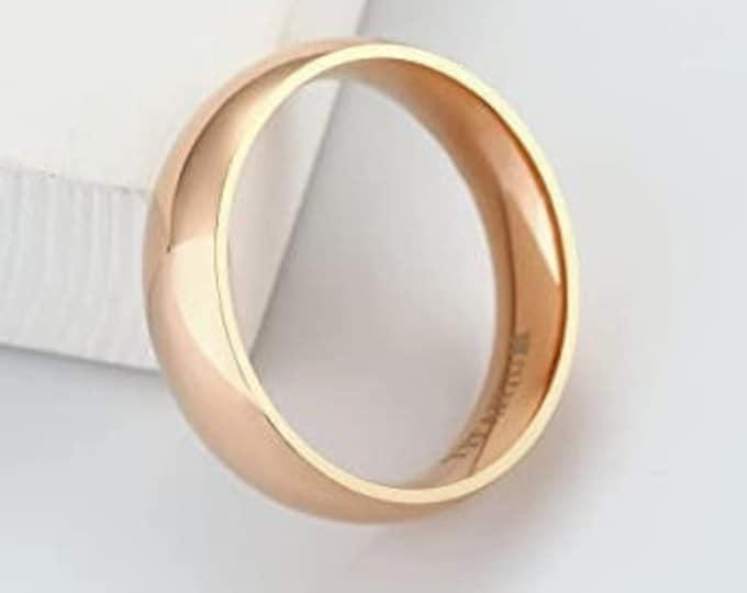 6mm Titanium Band,Rose Gold Finish,Wedding,Engagement,Dome Ring,High Polished,Comfort Fit,Unisex Ring,Men's Ring,Ladies/Women/Girls' Ring.