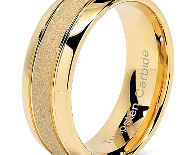 14k Gold Tungsten Rings for Men or Women Gold Wedding Band Sandblasted Finish Dome Edge US Sizes 6-16 (Engagement Ring, Anniversary Ring)