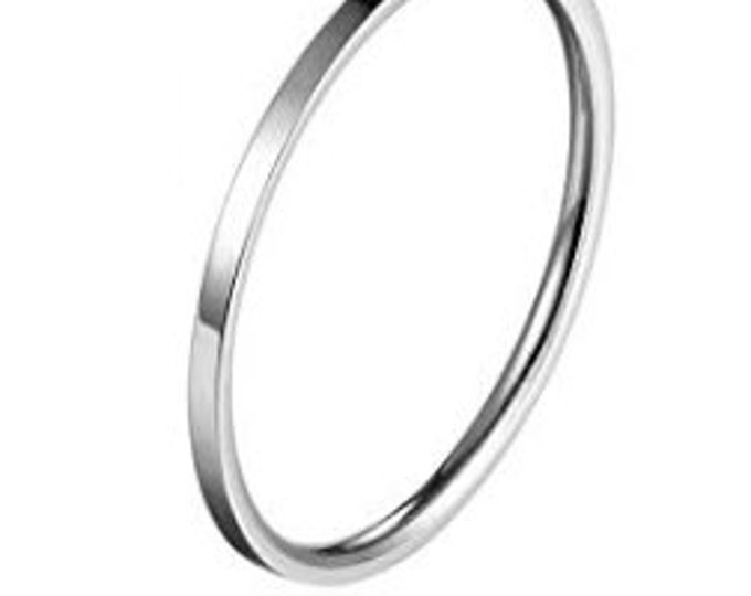 1MM, Thin, SILVER PLATED,  Stainless Steel, Knuckle Midi Stacking Rings for Women, Girls Plain Band, Comfort Fit (Buy Bulk & Save Big).
