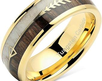 8mm Elk Deer Antler Dark Koa Wood Inlay Band, Thick Tungsten Carbide, Silver Arrow Inset, Unisex Wedding Ring, Dome Style, US Sizes-6-16.