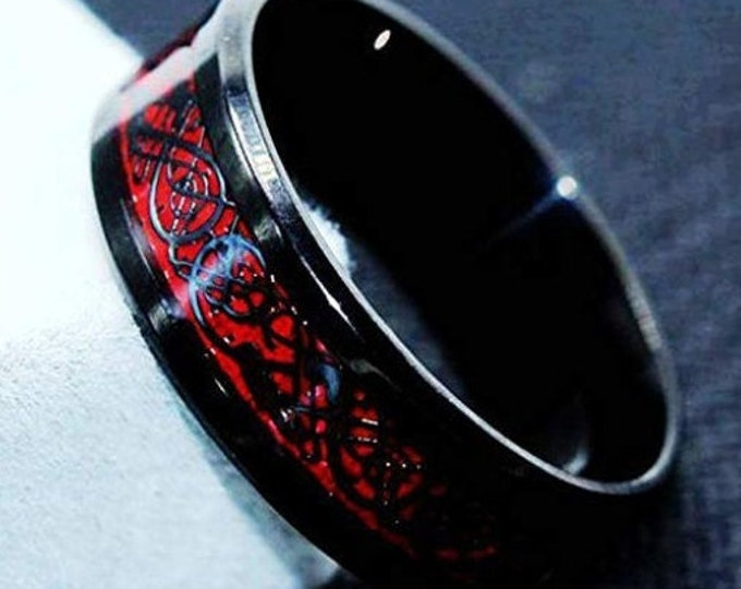 Reg. 299.95 8mm Black Tungsten Carbide Celtic Dragon w/ Red Carbon Fiber for Men 8mm Wedding Band Ring (US Ring Size 6 to 14)