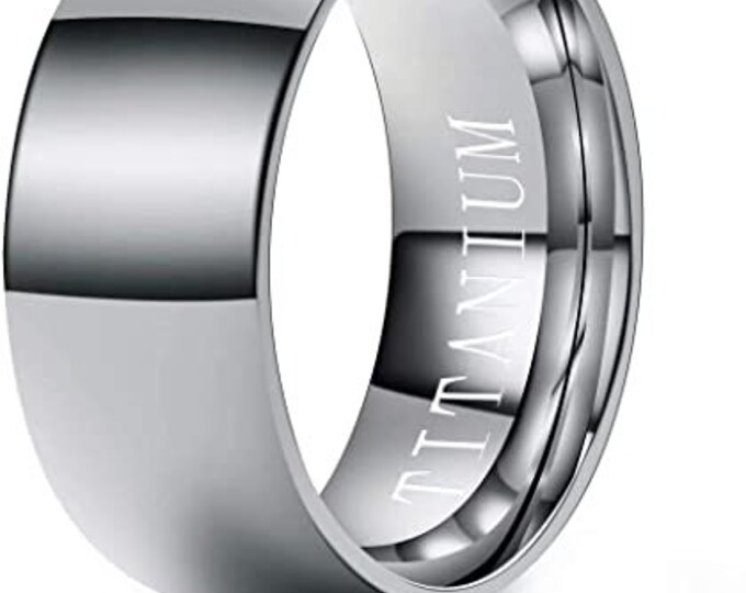 8mm Titanium Band,Silver Finish,Wedding,Engagement,Dome Ring,High Polished,Comfort Fit,Unisex Ring,Men's Ring,Ladies/Women/Girls' Ring.