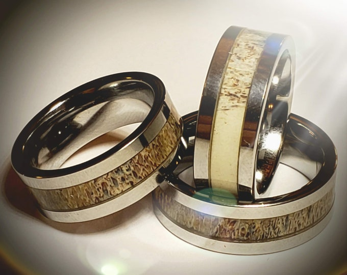 REG 379.00 - 8mm Tungsten Flat Wall Ring Deer Antler Inlaid Wedding Band Flat Band Size 8-16 Mens / Womens (unisex ring) engagement, promise