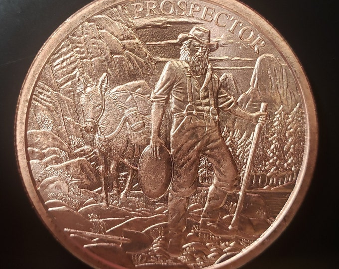 1 Troy oz Copper Round, Provident Prospector, 999 Copper Bullion Round, Metal Plating Options Available.