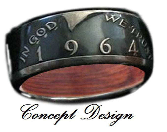 CUSTOM RING DESIGNED exclusively for Sheena Brown (Silver Half Dollar w/ Jameson Whiskey Barrel wood inner band), coin ring, 2222.