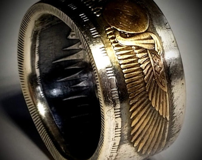 RARE 1955-56 Egyptian 25 Qirsh Commemorative Piastres Coin Ring, 10-14 mm wide, .720 Silver, Anniversary, Birthday, Heritage Ring.