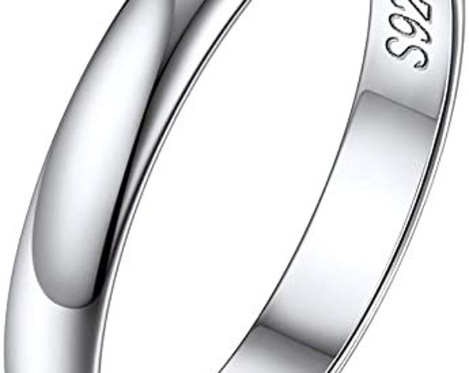 3mm 925 Solid Sterling Silver Eternity Ring, High Polished, Comfort Fit, Wedding, Engagement Band, Mens, Womens, Ring Sizes 4-12.