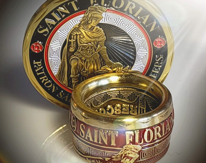 St. Florian Patron Saint of Firefighters | converted challenge Coin Ring! Powder Coated Red & Brass Option! LAFD, NYFD, military, rescue
