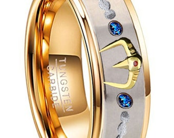 Custom Designed Concept Ring for Amelia Morgan - 8mm Saint Seiya Poseidon Anime - Saint ikki or Phoenix ikki Anime Inspired
