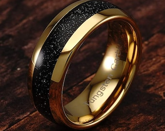 8mm Hawaiian Black Sand Inlaid into 14k Yellow Gold Tungsten Dome Ring!  Unisex for Mens  Wedding Band, Honeymoon, Anniversary (Size 4-18)