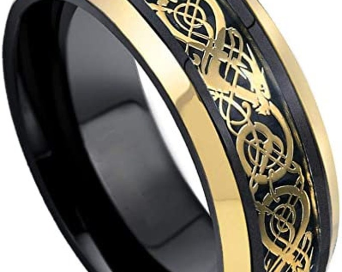 8mm Gold Celtic Dragon Tungsten Carbide Band,Black,Yellow Gold Plated,Wedding,Engagement,Unisex Ring,Comfort Fit,US Sizes 5-10.
