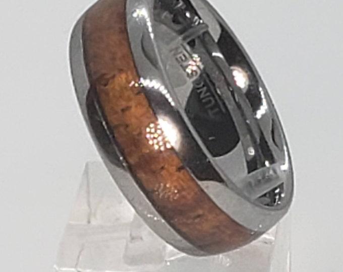 8mm Sequoia Redwood & Tungsten Carbide (Hypoallergenic) Comfort Fit Dome Men's Women's Unisex Ring, Anniversary, Engagement (US Sizes 6-13)