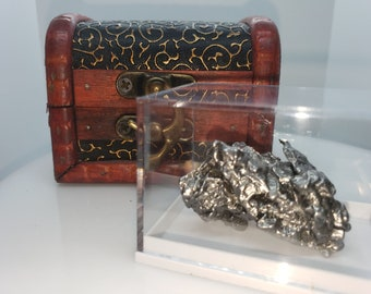 Authentic Extra Large 40-80 gram Campo Del Cielo, Argentina Meteorite, Chest & Acrylic Display Case (Certificate of Authenticity Included)