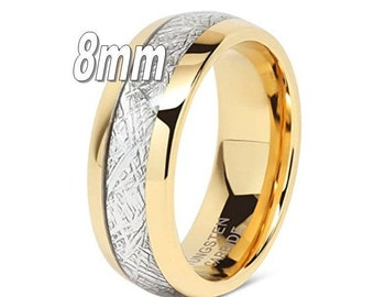 8mm 14K Yellow Gold Tungsten Ring Vintage Meteorite Pattern Wedding Engagement Band Domed Comfort Fit engagement ring, anniversary, promise