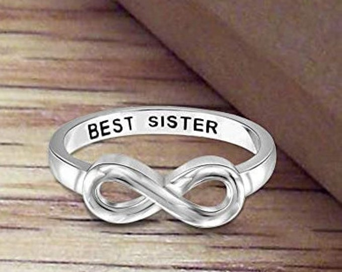 Sterling Silver Best Sister Infinity Band, Women's Ring, Mother's Day Gift, Eternity Knot Symbol Band, US Sizes  5-10.