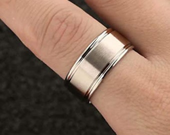 10mm Silver Titanium Band, Wedding, Engagement Band, Matte Brushed, Step Edge, Polished,Comfort Fit, Men's/Ladies/Womens Ring (US Size 4-16)
