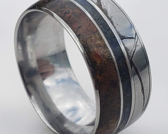 10mm Authentic Seymchan Meteorite, T-Rex Dinosaur Bone, Comfort-Fit Titanium Band w/ Thin Blue Line of crushed natural lapis lazuli Stone!