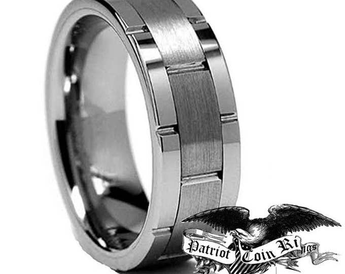 Men's 8mm Natural Silver Wedding Band, Brushed Center, Smooth Sides, 100% Tungsten Carbide Scratch, Ding & Water Resistant US Ring Size 6-16