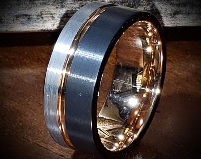 10mm (US Ring Sizes 6.5-16.0) Black & Silver Brushed Tungsten Carbide w/ 18k Rose Gold Wedding Band | Men's Wedding Bands, Engagement Rings,